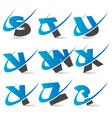 swoosh alphabet set 3 vector image