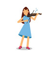 young woman playing a violin cartoon character vector image