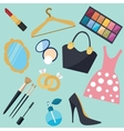 girl stuff woman things fashion object icon vector image