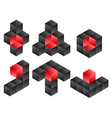 3d Cube Logo Icon Design Set vector image vector image