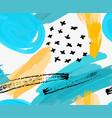 abstract blue marker circles and yellow brush vector image