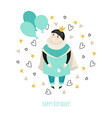 birthday card for a boy with a cute prince vector image vector image