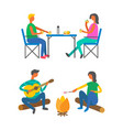 camping and outdoor activity lunch and campfire vector image vector image