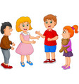 cartoon happy kids talking isolated on white backg vector image