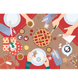 christmas dinner on wood table design vector image vector image