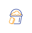cleaning bucket with sponge line icon vector image