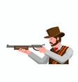 cowboy with rifle gun ready to shoot flat vector image vector image