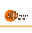 craft beer logo wooden barrel with beer vector image