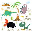 dinosaur footprint volcano palm tree stones vector image