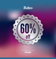 discount silver badge sixty percent offer vector image vector image