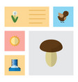 flat icon bio set of champignon bird floral and vector image vector image