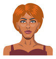 girl with short red hair on white background vector image vector image