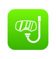 goggles and tube for diving icon digital green vector image vector image