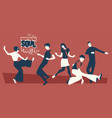 group five young people wearing retro clothes vector image vector image