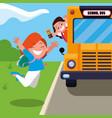 happy student girls in the school bus stop scene vector image