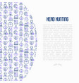 head hunting concept with thin line icons vector image vector image
