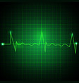 heart pulse graphic ekg line on green background vector image vector image