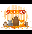 Hello autumn background with wild animals vector image