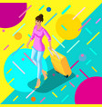 isometric girl with a suitcase goes to the plane vector image vector image