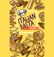 italian pasta sketch poster restaurant menu vector image vector image