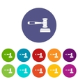 Judge gavel set icons vector image vector image