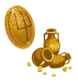 Jugs gold coins and shield with a Trident vector image vector image