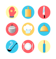 Kitchen utensils and kitchen flat Icons vector image vector image