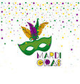 mardi gras background with green mask with vector image
