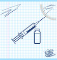 medical syringe with needle and vial or ampoule vector image vector image