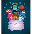 Monster Merry Christmas Card Design vector image vector image