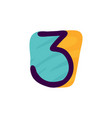 number three logo in kids paper applique style vector image vector image