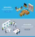 office isometric horizontal banners vector image vector image