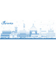 outline florence italy city skyline with blue vector image vector image