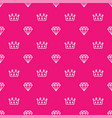 pattern royal crown and diamond outline on pink vector image vector image