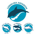 sea aquarium emblem set vector image vector image