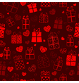 Seamless pattern of hearts and gift boxes vector image vector image