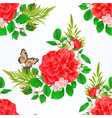 seamless texture pink rose and butterfly vector image vector image