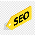 Seo yellow tag isometric icon vector image