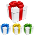 Set of gift boxes with bows and ribbons vector image