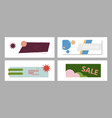 set of horizontal white banners with triangular vector image vector image
