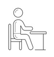 student sitting on chair at the desk line icon vector image
