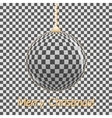 Stylish Christmas card Glass ball on a gray vector image vector image