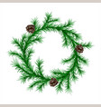 traditional green christmas fir wreath with cones vector image vector image