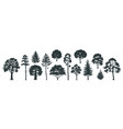 trees silhouettes forest and park pines firs and vector image