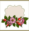 Vintage frame with rose hips