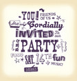 vintage party invitation poster with hand vector image vector image