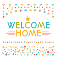 Welcome home text with colorful design elements vector image vector image