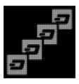 white halftone dash block chain icon vector image