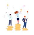 winner ranking businessmen on money pedestals vector image