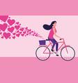 woman riding bike cartoon vector image